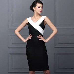 stunning-europe-qingshunv-dress-2016-summer-new-black-and-white-v-neck-hit-the-color-ol-slim-package-hip-long-section-dresses-910540_442